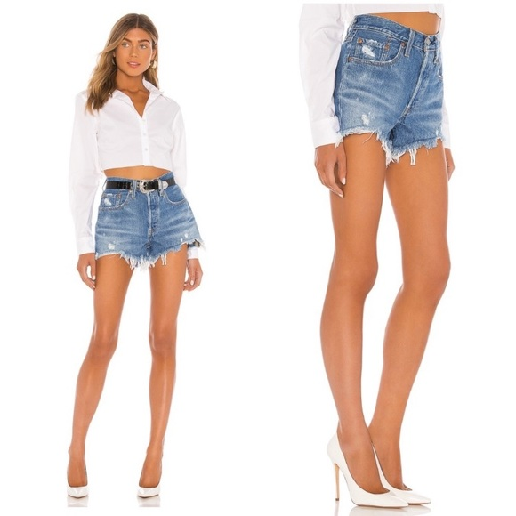 Levi's Revolve distressed button jean shorts NWT